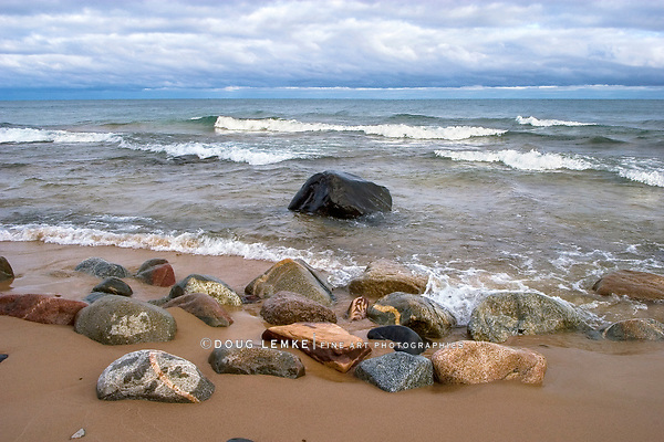 Boulders And Surf At Au Sable Point Along The Pictured Rocks National Lakeshore In The Upper Peninsula Of Michigan, USA