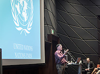 "Douglas Gardner, assistant professor, Diplomacy & World Affairs. Gardner is the on-site faculty director of Oxy at the U.N. UN WEEK presents: ""United Nations in Time of Transition"" lecture by Robert Skinner in Choi Auditorium, Feb. 13, 2017. Robert Skinner is the current director of the United Nations Information Center in Washington, D.C.<br /> Sponsored by The Kahane Oxy-at-the-UN Program, presented by Occidental College's Diplomacy &World Affairs Department with support from The Young Initiative, IPO, UNA-USA and Oxy Arts.<br /> (Photo by Marc Campos, Occidental College Photographer)"