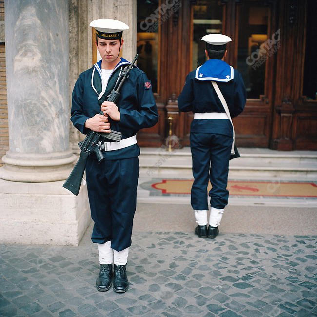 Armed sailors changed the guard outside the Senate in Rome, Italy. October 24, 2007
