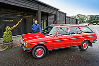 Car restorer Mark Cosovich Mercedes W123 series 230TE estate version, outside the Penderyn Whisky Distillery in south Wales, UK. Tuesday 19 June 2018