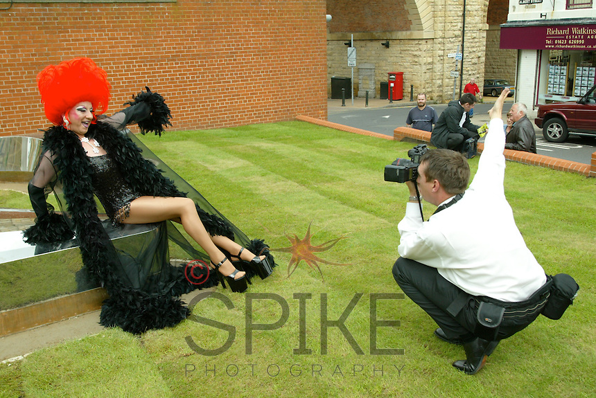 Mansfield's 'Stiletto' sculpture gets off to a spectacular launch as Spike photographs the drag queen who officially unveiled it