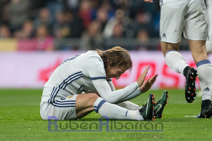 Real Madrid's Croatian midfielder Luca Modric lamenting during the Copa del Rey soccer match between Real Madrid and Sevilla played at the Santiago Bernabéu stadium in Madrid, on January 4th 2017.