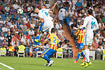 Real Madrid's Karim Benzema and Gareth Bale and Valencia's Martin Montoya during La Liga match between Real Madrid and Valencia CF at Santiago Bernabeu Stadium in Madrid, Spain August 27, 2017. (ALTERPHOTOS/Borja B.Hojas)