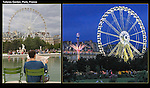 France, Paris.  <br /> Day and night, photographing icons will help you tell your photo story. Tuileries Gardens and Ferris wheel, Paris, France.