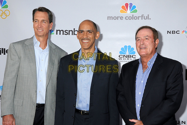 "CHRIS COLLINSWORTH, TONY DUNGY & AL MICHAELS.The Cable Show 2010 ""An Evening with NBC Universal"" held at Universal Studios Hollywood, Universal City, California, USA..May 12th, 2010.half length suit jacket black stripe blue grey gray cris.CAP/ADM/BP.©Byron Purvis/AdMedia/Capital Pictures."