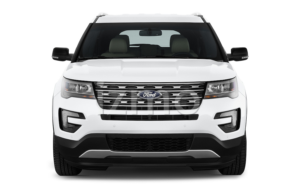Car photography straight front view of a 2016 Ford Explorer XLT 4 Door SUV Front View