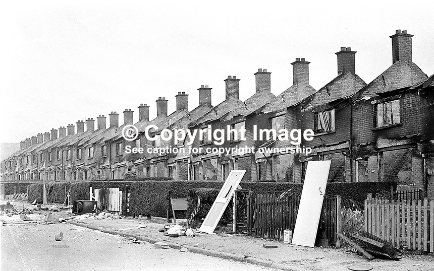 Deserted and devastated - Farringdon Gardens, in the Ardoyne district of Belfast, following post-internment rioting when evacuating Protestants burnt their homes rather than have the possibility of them being taken over by Roman Catholics. 380/71, 197108090380b..Copyright Image from Victor Patterson, 54 Dorchester Park, Belfast, UK, BT9 6RJ..Tel: +44 28 9066 1296.Mob: +44 7802 353836.Voicemail +44 20 8816 7153.Skype: victorpattersonbelfast.Email: victorpatterson@mac.com.Email: victorpatterson@ireland.com (back-up)..IMPORTANT: If you wish to use this image or any other of my images please go to www.victorpatterson.com and click on the Terms & Conditions. Then contact me by email or phone with the reference number(s) of the image(s) concerned.