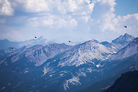 The Tour de France VIP helicopters above the Alps. <br /> <br /> Stage 18: Embrun to Valloire (208km)<br /> 106th Tour de France 2019 (2.UWT)<br /> <br /> ©kramon
