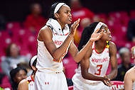 College Park, MD - NOV 16, 2016: Maryland Terrapins guard Shatori Walker-Kimbrough (32) celebrates a big play from the sideline during game between Maryland and Maryland Eastern Shore Lady Hawks at XFINITY Center in College Park, MD. The Terps defeated the Lady Hawks 106-61. (Photo by Phil Peters/Media Images International)