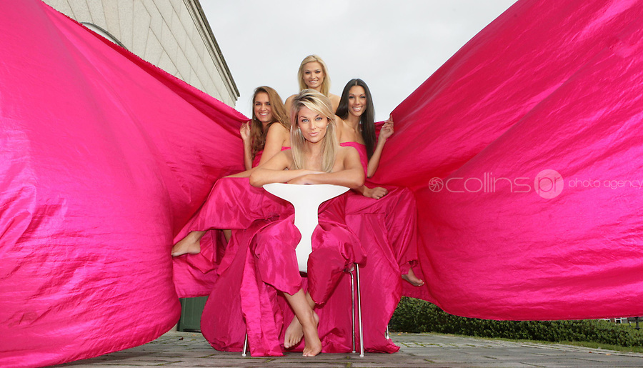 02/12/2008.(L to R) Models Roberta Rowat, Pippa O' Connor, Sara Kavanagh & Samina Zia  wrapped up in pink fabric to mark the Prestigious Textiles & Styleline Blinds partnership with Action Breast Cancer, a programme of the Irish Cancer Society at the Four Seasons hotel, Dublin..Photo: Gareth Chaney Collins