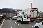 Coronavirus Outbreak Italy in Lockdown and Quarantine with shops closed Outbreak - Italy in Lockdown - Border with Austria - quarantine on 10/03/2020, Brennero, Brener, Italy. German's leaving by the A22 motorway on 10th of March 2020, Since this morning Italy is in lockdown till 3rd of April 2020 in a bid to try to avoid a pandemic of the Covid-19. Today Italy is having more than 500 deaths.
