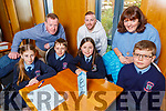 Ardfert NS students taking part in the Chapter 23 Credit union finals in the Ballyroe Heights Hotel on Sunday.<br /> Front l to r: Hazel O'Sullivan, Luke Baxter, Rachel Lennon and Alex Thornton.<br /> Back l to r: Teachers Tomas O' hAinifein, Philip Lynch and Helen Geary (Cara Credit Union).