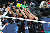 20th March 2018, PalaTrento, Trento, Italy; CEV Volleyball Champions League, playoffs, 1st leg; Trentino Diatec versus Chaumont VB 52 Haute Marne; 2 Kovacevic Uros SRB, 4 Javier Gonzalez CUB, 7 Jonas Aguenier FRA, 1 Yacine Louati FRA