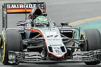 March 18, 2016: Nico Hulkenberg (DEU) #27 from the Sahara Force India F1 team rounds turn 2 during practise session one at the 2016 Australian Formula One Grand Prix at Albert Park, Melbourne, Australia. Photo Sydney Low