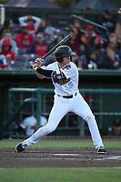 Connor Justus (6) of the Inland Empire 66ers bats against the San Jose Giants at San Manuel Stadium on April 8, 2017 in San Bernardino, California. (Larry Goren/Four Seam Images)