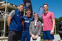 Medbury  MVP with Black Caps Matt Henry, George Worker and Tom Latham  at the Bert Sutcliffe Oval, Lincoln University, Christchurch, New Zealand. Wednesday 22 November 2017. Photo: John Davidson/www.bwmedia.co.nz
