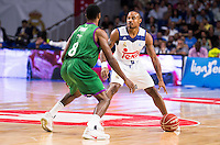 Real Madrid's player Dontaye Draper and Unicaja Malaga's player Kyle Fogg during match of Liga Endesa at Barclaycard Center in Madrid. September 30, Spain. 2016. (ALTERPHOTOS/BorjaB.Hojas) /NORTEPHOTO