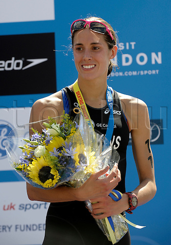 24.07.10 2010 Dextro Energy/ ITU World Championship Triathlon.Hyde Park London UK.The event was won by Paula Findlay CAN in 01:51:48 from Nicola Spirig SUI and Helen Jenkins GBR (seen here on the podium)