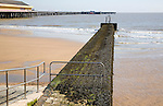 Large breakwater groyne resulting in different beach levels, Walton on the Naze, Essex, England