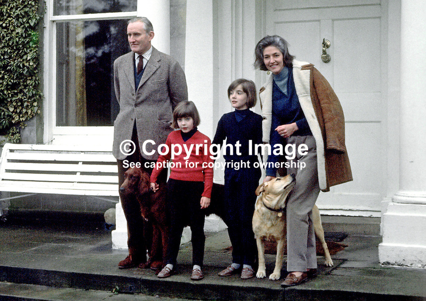 New N Ireland Prime Minister, Major James Chichester-Clark, with his wife, Moyra, and daughters, Tara and Fiona, on the steps of their home, Moyola Park, Castledawson, Co Londonderry. 196905030165b.<br />