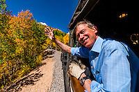 Governor John Hickenlooper (of Colorado) visit aboard the Cumbres & Toltec Scenic Railroad, from Antonito to Osier, Colorado.