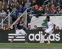 Foxborough, Massachusetts - September 26, 2015: First half action. In a Major League Soccer (MLS) match, the New England Revolution (blue/white) vs Philadelphia Union (white), 1-0 (halftime), at Gillette Stadium.