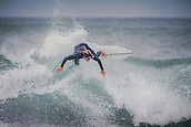 3rd January 2018,  Baleal, Peniche Portugal - Unidentified surfer during practice , before the upcoming Nazare big-wave surfing event which will have giant wave runs