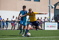 George Wells of Slough Town holds off Trialist of Wycombe Wanderers during the pre season friendly match between Slough Town and Wycombe Wanderers at Arbour Park Stadium, Slough, England on 8 July 2017. Photo by Andy Rowland