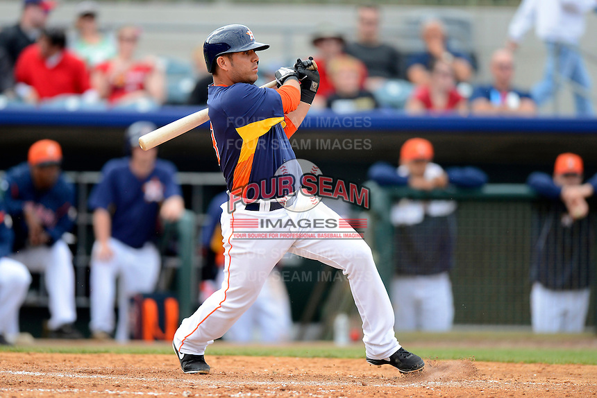 Houston Astros second baseman Jose Martinez #73 during a Spring Training game against the St. Louis Cardinals at Osceola County Stadium on March 1, 2013 in Kissimmee, Florida.  The game ended in a tie at 8-8.  (Mike Janes/Four Seam Images)