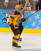 Sam Warning (MN - 11), Bob Bernard - The University of Minnesota Golden Gophers defeated the University of North Dakota 2-1 on Thursday, April 10, 2014, at the Wells Fargo Center in Philadelphia to advance to the Frozen Four final.