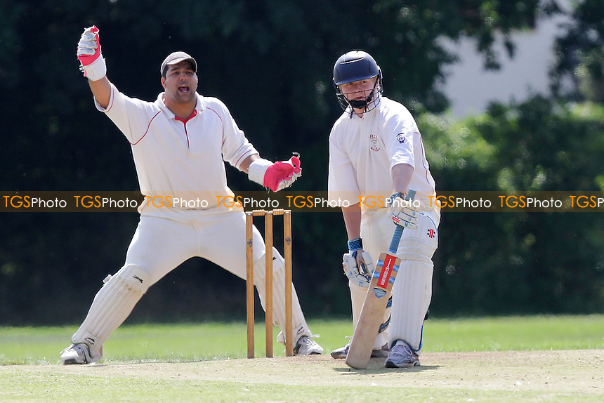 An appeal for the wicket of Hornchurch batsman Jamie Heath - Hornchurch CC 5th XI (batting) vs Gidea Park & Romford CC 5th XI - Essex Cricket League - 30/07/11 - MANDATORY CREDIT: Gavin Ellis/TGSPHOTO - Self billing applies where appropriate - 0845 094 6026 - contact@tgsphoto.co.uk - NO UNPAID USE.