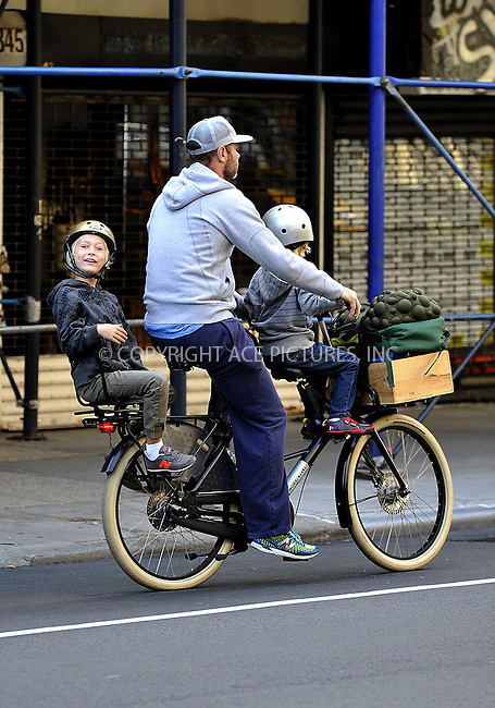 ACEPIXS.COM<br /> <br /> September 19 2014, New York City<br /> <br /> Actors Liev Schriber and Naomi Watts take their kids Sam and Sasha to school on September 19 2014 in New York City. Liev has the children 'three up' on his bicycle, whilst Naomi struggles to keep up as she jogs behind them.<br /> <br /> By Line: Curtis Means/ACE Pictures<br /> <br /> ACE Pictures, Inc.<br /> www.acepixs.com<br /> Email: info@acepixs.com<br /> Tel: 646 769 0430