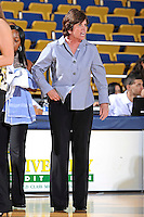 25 February 2012:  FIU Head Coach Cindy Russo reacts to a call in the first half as the FIU Golden Panthers defeated the University of South Alabama Jaguars, 58-55 (OT), at the U.S. Century Bank Arena in Miami, Florida.