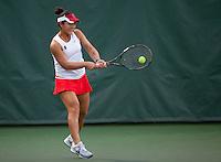 STANFORD, CA - January 26, 2011: Kristie Ahn of Stanford women's tennis during her match against UC Davis' Ellie Edles. Ahn won 6-3, 6-1.