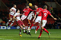 Charlton's Jake Forster-Caskey heads the ball away with the back of his head during Charlton Athletic vs Bradford City, Sky Bet EFL League 1 Football at The Valley on 13th February 2018