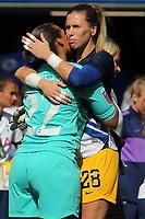 Tottenham Hotspur Women's goalkeeper, Becky Spencer embraces Chelsea Women's goalkeeper, Carly Telford at the final whistle during Chelsea Women vs Tottenham Hotspur Women, Barclays FA Women's Super League Football at Stamford Bridge on 8th September 2019