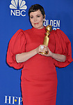 Olivia Coleman 133 poses in the press room with awards at the 77th Annual Golden Globe Awards at The Beverly Hilton Hotel on January 05, 2020 in Beverly Hills, California.