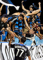 Chris Wondolowski acknowledges fans after the game. The San Jose Earthquakes tied DC United 2-2 at Buck Shaw Stadium in Santa Clara, California on July 25, 2009.