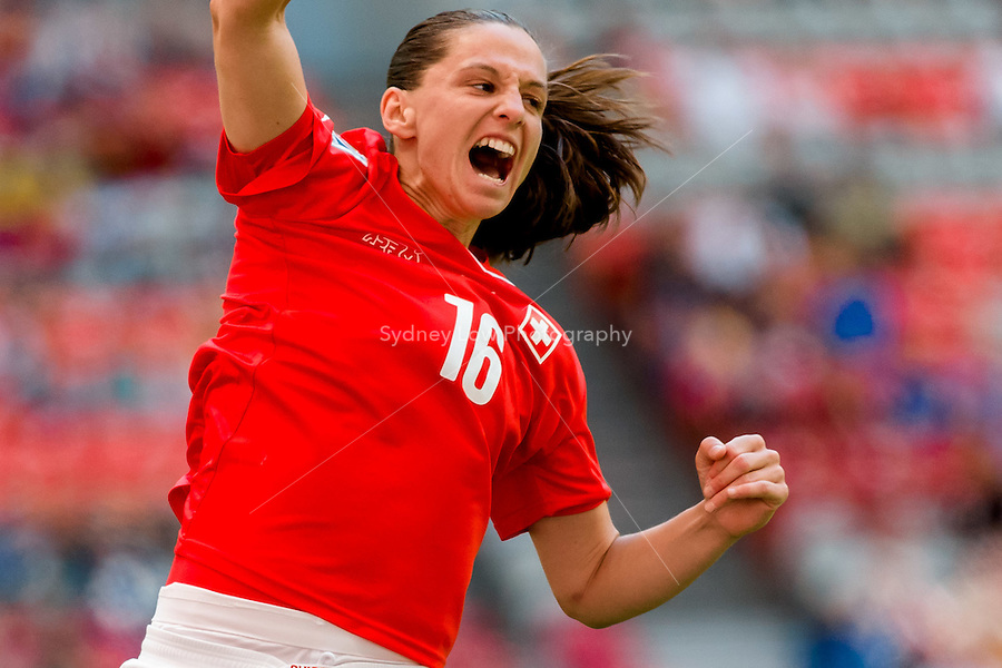 June 12, 2015: Fabienne HUMM of Switzerland celebrates her goal during a Group C match at the FIFA Women's World Cup Canada 2015 between Switzerland and Ecuador at BC Place Stadium on 12 June 2015 in Vancouver, Canada. Switzerland won 10-1. Sydney Low/AsteriskImages