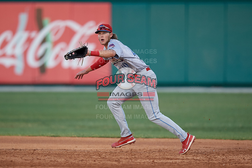 Clearwater Threshers first baseman Alec Bohm (40) fields a ball during a Florida State League game against the Dunedin Blue Jays on May 11, 2019 at Jack Russell Memorial Stadium in Clearwater, Florida.  Clearwater defeated Dunedin 9-3.  (Mike Janes/Four Seam Images)