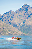 Jet Boating on Lake Wakatipu is one of the HUNDREDS of activities available to tourists at Queenstown, South Island, New Zealand.