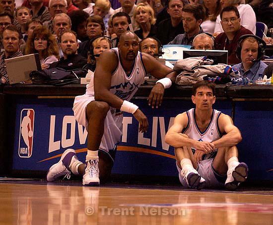 Karl Malone and John Stockton. Jazz vs. Sacramento Kings, game 3 NBA Playoffs first round. Jazz win. 04/26/2003<br />