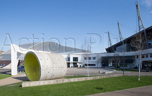18.04.2015.  Manchester, England. UCI BMX Supercross World Cup.  Day One. Exterior view of the Indoor BMX track, National Cycling Centre, Manchester. U.K.