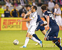 CARSON, CA - November 1, 2012: LA Galaxy midfielder Landon Donovan (10) get fouled in the box during the LA Galaxy vs the Vancouver Whitecaps FC at the Home Depot Center in Carson, California. Final score LA Galaxy 2, Vancouver Whitecaps FC 1.