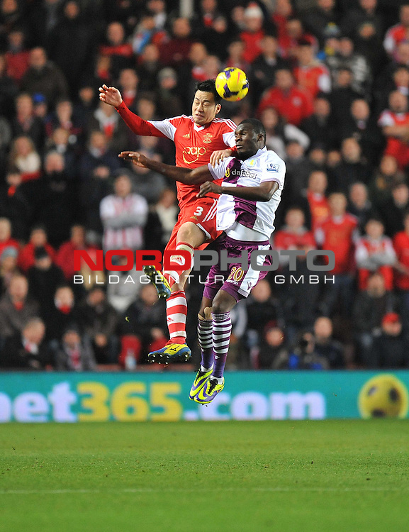 Southampton's Maya Yoshida battles for a high ball with Aston Villa's Andreas Weimann -  04/12/2013 - SPORT - Football - Southampton - St Mary's Stadium - Southampton v Aston Villa - Barclays Premier League<br /> Foto nph / Meredith<br /> <br /> ***** OUT OF UK *****