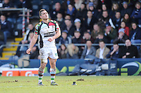 20130317 Copyright onEdition 2013©.Free for editorial use image, please credit: onEdition..Ben Botica of Harlequins watches his penalty kick attempt during the LV= Cup Final between Harlequins and Sale Sharks at Sixways Stadium on Sunday 17th March 2013 (Photo by Rob Munro)..For press contacts contact: Sam Feasey at brandRapport on M: +44 (0)7717 757114 E: SFeasey@brand-rapport.com..If you require a higher resolution image or you have any other onEdition photographic enquiries, please contact onEdition on 0845 900 2 900 or email info@onEdition.com.This image is copyright onEdition 2013©..This image has been supplied by onEdition and must be credited onEdition. The author is asserting his full Moral rights in relation to the publication of this image. Rights for onward transmission of any image or file is not granted or implied. Changing or deleting Copyright information is illegal as specified in the Copyright, Design and Patents Act 1988. If you are in any way unsure of your right to publish this image please contact onEdition on 0845 900 2 900 or email info@onEdition.com