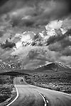 California Highway 270, gathering late spring storm east of the Sierra Nevada from the Bodie Hills, Mono County, Calif.