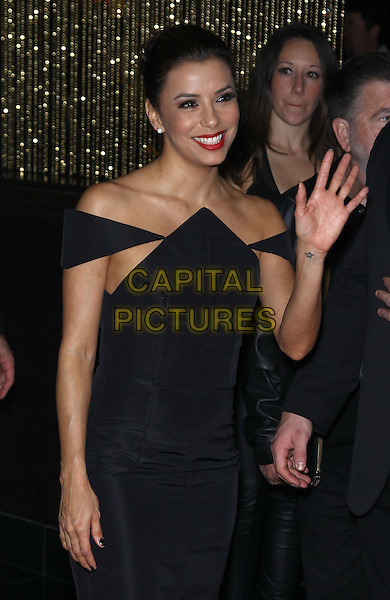 Eva Longoria.Grand Opening of SHe by Morton's inside Crystals at City Center, Las Vegas, NV, USA, 2nd February 2013..half length black off the shoulders dress hand waving   pointed side boob .CAP/ADM/MJT.© MJT/AdMedia/Capital Pictures.