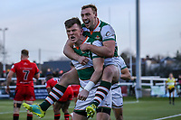 Peter LYDON of Ealing Trailfinders celebrates after he scores the winning try during the Greene King IPA Championship match between Ealing Trailfinders and Jersey Reds at Castle Bar , West Ealing , England  on 22 December 2018. Photo by David Horn.