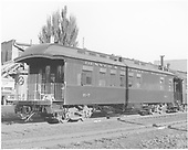Business car B-7 at Durango?  Originally baggage car #17 and then business car R.<br /> D&amp;RGW  Durango ?, CO